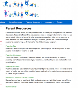 Free Parenting Resources on Teach One Reach One - Teach One Reach One